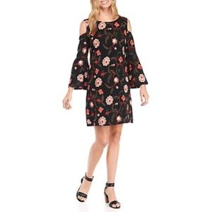Luxology Cold Shoulder Embroidered Trapeze Dress